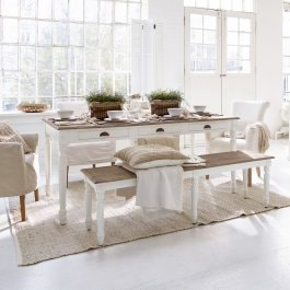 Table Helsinquia blanc/marron