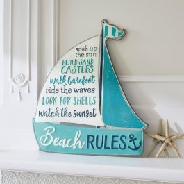 Decoboard Beach Rules blauw/wit