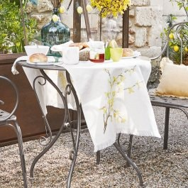 Lot de 2 chemins de table Gillery blanc/jaune