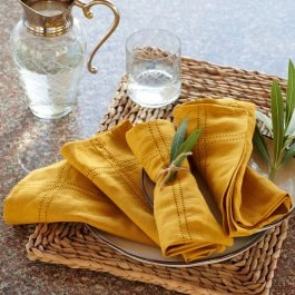 Lot de 4 serviettes de table Thayer jaune