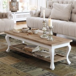 Table basse Riverside marron/blanc vieilli