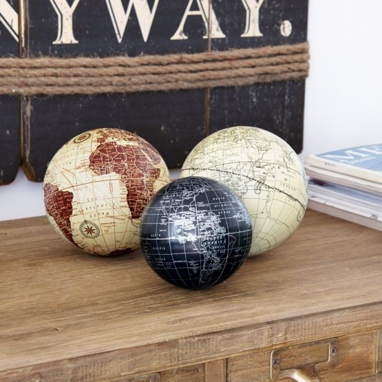 Lot de 3 boules décoratives World multicolore
