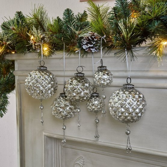 Lot de 6 décorations de Noël Murron argenté